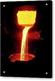 Molten Nickel Pouring From A Blast Furnace Acrylic Print