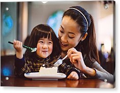 Mom & Toddler Girl Having Cake Joyfully In Cafe Acrylic Print by images by Tang Ming Tung