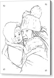 Acrylic Print featuring the drawing Mom And Baby by Olimpia - Hinamatsuri Barbu
