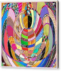Mom Hugs Baby Crystal Stone Collage Layered In Small And Medium Sizes Variety Of Shades And Tones Fr Acrylic Print