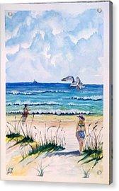 Acrylic Print featuring the painting Mom Son Beach by Richard Benson