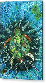 Mom There Is A Turtle In The Swimming Pool  Acrylic Print by Anne-Elizabeth Whiteway