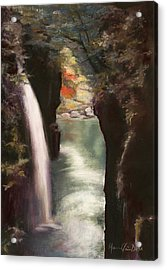 Moment Of Eternity - Takachiho Falls Acrylic Print by Marie-Claire Dole