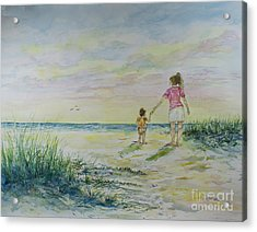 Mommy And Me At The Beach Acrylic Print