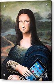 Mona Lisa With Ipad Acrylic Print by John Lyes