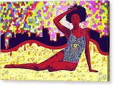 Mona Sur La Plage Urbaine Acrylic Print by Kenal Louis