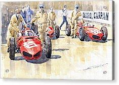Monaco Gp 1961 Ferrari 156 Sharknose  Acrylic Print by Yuriy  Shevchuk