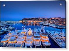 Monaco Lights At Night Acrylic Print by Gianfranco Weiss