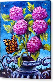 Monarch And Flowers Acrylic Print by Sebastian Pierre