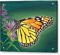 Acrylic Print featuring the painting Monarch And Liatris by Fran Brooks