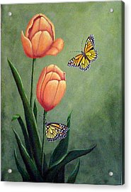 Monarchs And Golden Tulips Acrylic Print by Fran Brooks