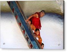 Acrylic Print featuring the digital art Monastery In Bhutan by Angelika Drake