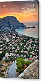 Mondello Beach Sunset Acrylic Print by Viacheslav Savitskiy