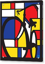 Acrylic Print featuring the painting Mondrian Bike by Sassan Filsoof