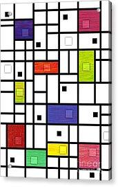 Mondrian-like Variation Acrylic Print by David K Small