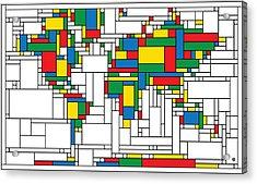 Mondrian World Map Acrylic Print by Gary Grayson