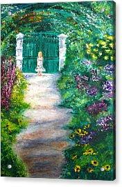 Monet Garden Admirer Acrylic Print