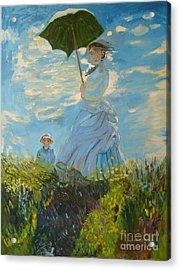 Monet-lady With A Parasol-joseph Hawkins Acrylic Print