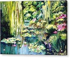 Monet's Garden Acrylic Print by Cindy Morgan
