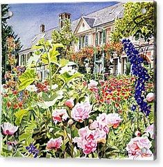 Monet's Garden Giverny Acrylic Print by David Lloyd Glover