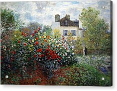 Acrylic Print featuring the photograph Monet's The Artist's Garden In Argenteuil  -- A Corner Of The Garden With Dahlias by Cora Wandel