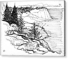 Monhegan Cliffs 1987 Acrylic Print by Richard Wambach