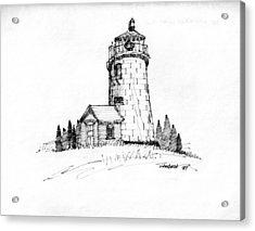 Monhegan Lighthouse 1987 Acrylic Print by Richard Wambach