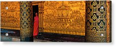 Monk In Prayer Hall At Wat Mai Buddhist Acrylic Print by Panoramic Images
