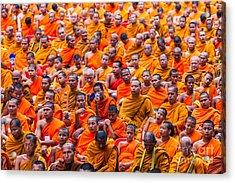 Monk Mass Alms Giving Acrylic Print by Fototrav Print