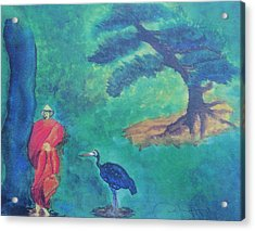 Monk With Bonzai Tree Acrylic Print by Debbie Nester