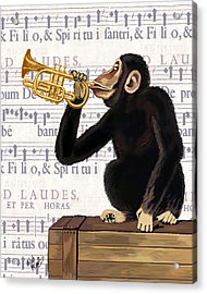 Monkey And Trumpet Acrylic Print by Kelly McLaughlan