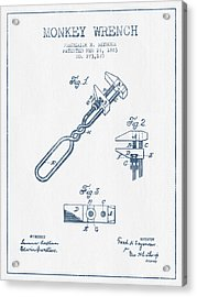 Monkey Wrench Patent Drawing From 1883- Blue Ink Acrylic Print by Aged Pixel