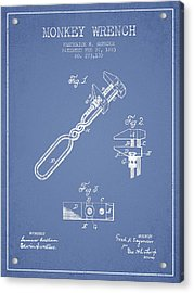 Monkey Wrench Patent Drawing From 1883 - Light Blue Acrylic Print by Aged Pixel