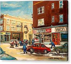 Monkland Street Hockey Game Montreal Urban Scene Acrylic Print by Carole Spandau