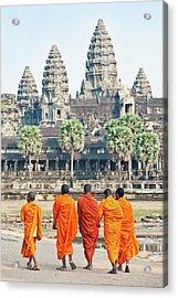 Monks, Angkor Wat, Cambodia Acrylic Print