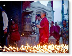 Monks At Morning Near Stupa Boudhanath Doing Kora Nepal Kathmandu Muktianth Yatra 2013 Artmif.lv Acrylic Print