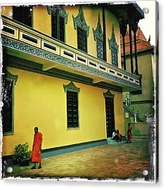 Monks At Ounalom Pagoda In Cambodia Acrylic Print