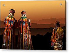 Acrylic Print featuring the digital art Monks From Bhutan by Angelika Drake