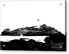 Monochromatic Godrevy Island And Lighthouse Acrylic Print by Terri Waters