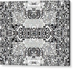 Monochrome Geometric Random Glyphs Acrylic Print