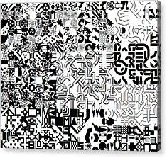 Monochrome Random Glyphs Acrylic Print