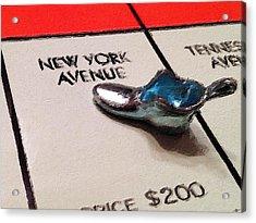 Monopoly Board Custom Painting New York Avenue Acrylic Print