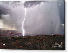 Monsoon Lightning Hits Clarkdale Arizona As Seen From Jerome Acrylic Print