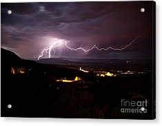 Monsoon Lightning In Jerome Az Acrylic Print