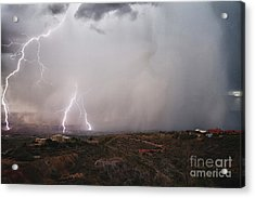 Monsoon Lightning Storm Over The Jerome State Park In The Verde Valley Arizona Acrylic Print