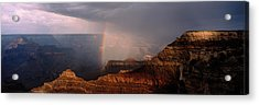 Monsoon Storm With Rainbow Passing Acrylic Print by Panoramic Images