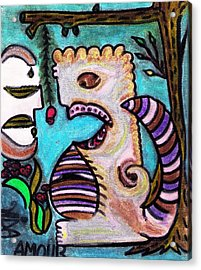 Monsters Love Life Too Acrylic Print by Lois Picasso