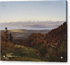 Mont-blanc Seen From Saint-cergues, 1869 Acrylic Print by Francois Louis Francais