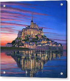 Mont Saint-michel Soir Acrylic Print by Richard Harpum