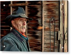 Acrylic Print featuring the painting Montana Cowboy by Michael Pickett